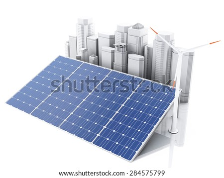 3d City with wind turbines and solar panels, alternative energy. Concept for ecology. Isolated white background - stock photo