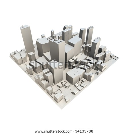 3D cityscape model at daytime - no shadow - stock photo