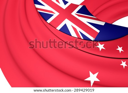 3D Civil Ensign of New Zealand. Close Up.