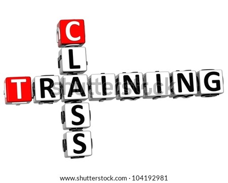 3D Class Training Crossword on white background