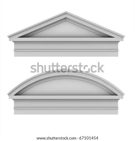 3d classic architecture Roman Tuscan pediments - stock photo