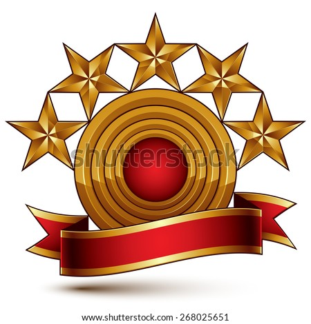 3d classic royal symbol with sophisticated five golden stars and red decorative wavy ribbon, glossy golden element isolated on white background. Elegant blazon.