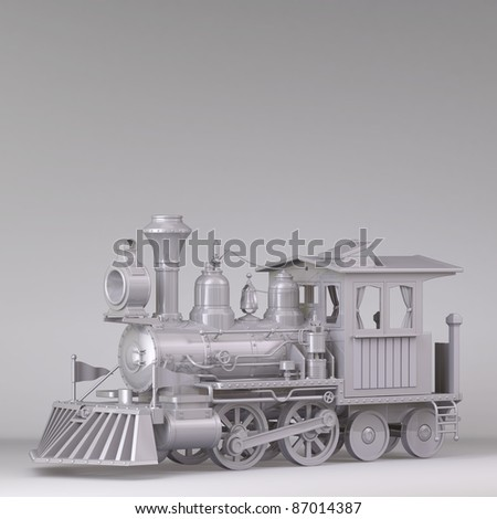 3D Classic train, black and white on a white background.