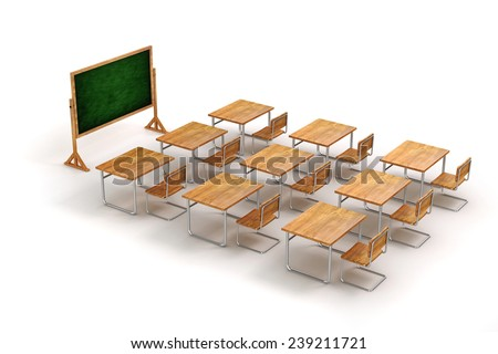 3d classroom  - stock photo