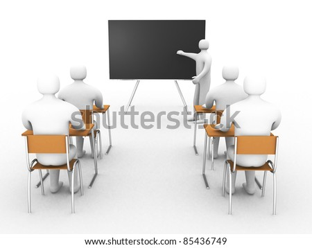 3d classroom with teacher and pupils isolated on white. Concept of education and learning. - 3d render illustration - stock photo