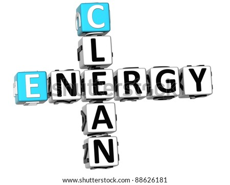 3D Clean Energy Crossword on white background - stock photo