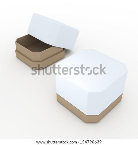 3d clean white and original brown moon cake container, snack container, with cap in isolated background clipping paths, work paths included