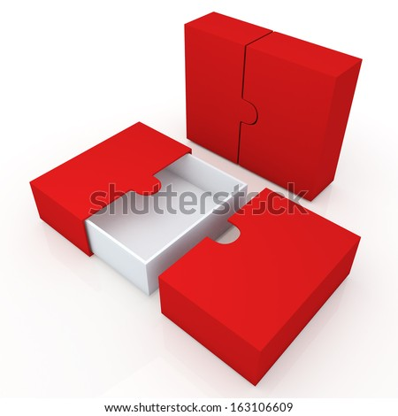 3d clean white and red container for garments products, leather products, clothes, or accessories  blank template and wedge option in isolated background with work paths, clipping paths included  - stock photo