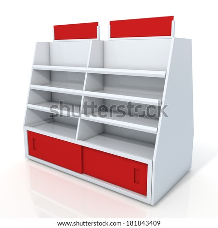 3d clean white and red store shelves and brand sign new design for products showing in minimart or department store isolated background with work paths, clipping paths included  - stock photo