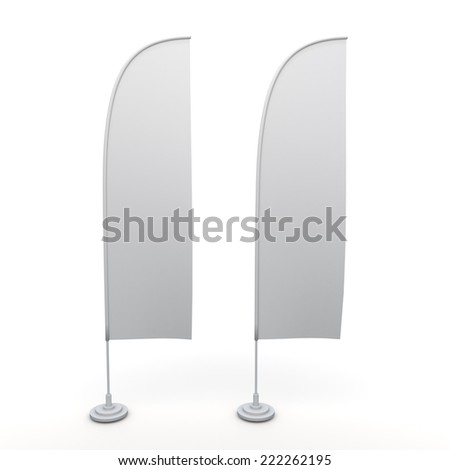3D clean white beach sail wing blank banners and base in isolated background with work paths, clipping paths included - stock photo