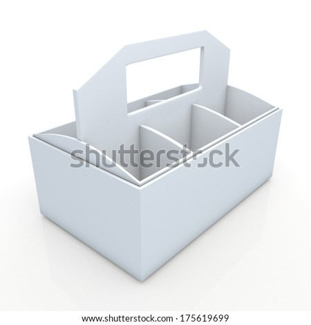 3d clean white beverage bottles box and partition packaging hexagon box and lids for blank template products in isolated background with clipping paths, work paths included  - stock photo