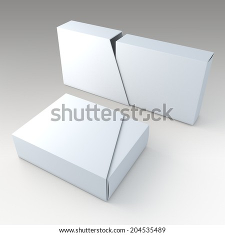 3D clean white blank box and blank slide trapezoid cover in isolated background with work paths, clipping paths included  - stock photo