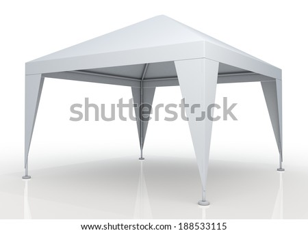 3D clean white canopy, tent for outdoor activity and canvas, pipe structure in isolated background with work paths, clipping paths included - stock photo