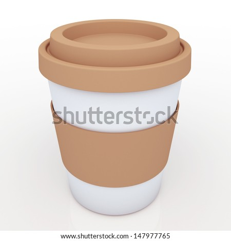3d clean white coffee cup with brown cap, brown band blank template in isolated with clipping paths, work paths included