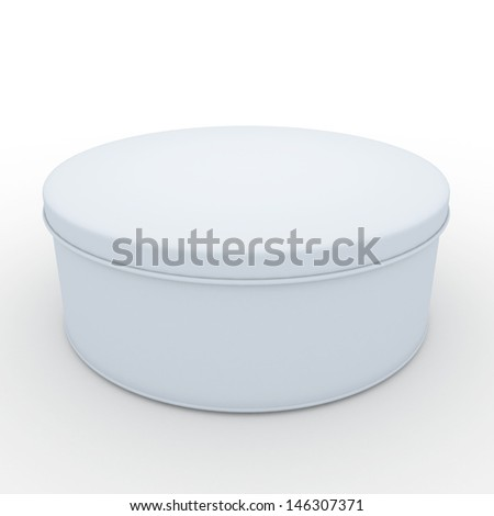 3d clean white cookies container, snack container, with cap in isolated background clipping paths, work paths included - stock photo