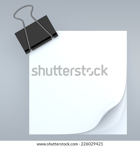 3D clean white note papers curl and clip in isolated background with work paths, clipping paths included - stock photo