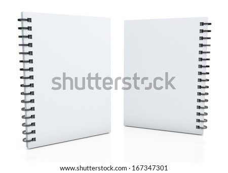 3d clean white notebook and wires  in isolated background with work paths, clipping paths included  - stock photo