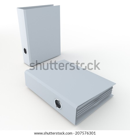 3D clean white office binder in isolated background with work paths, clipping paths included - stock photo