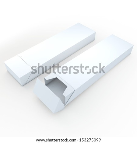 3d clean white pencils packaging, pens, chocolate, carton box and packaging blank template in isolated with clipping paths, work paths included  - stock photo
