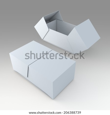 3D clean white products packaging container box and open by swing lids option in isolated background with work paths, clipping paths included  - stock photo