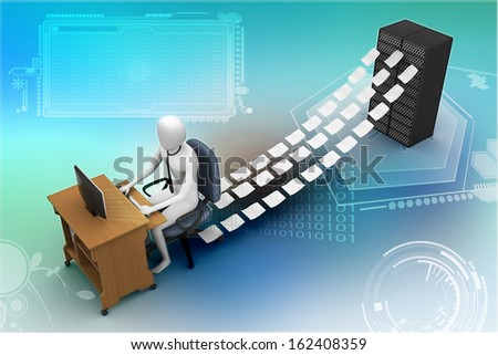 3d clerk working in the office - stock photo
