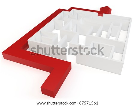 3d clever solved maze puzzle on white background - stock photo