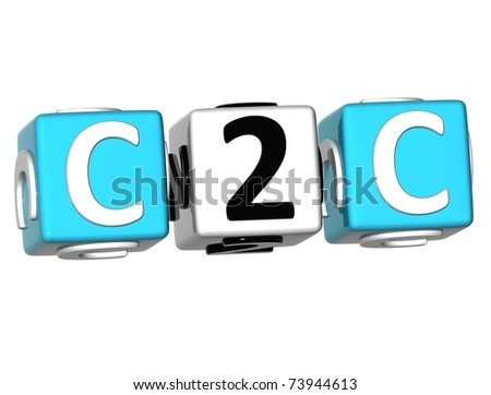 3D Client to Client Cube word on white background - stock photo