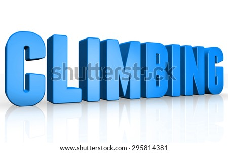 3D climbing text on white background
