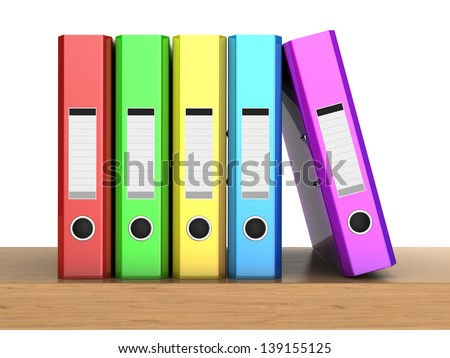 3d clipart the multicolored five folders in row on the wooden shelf