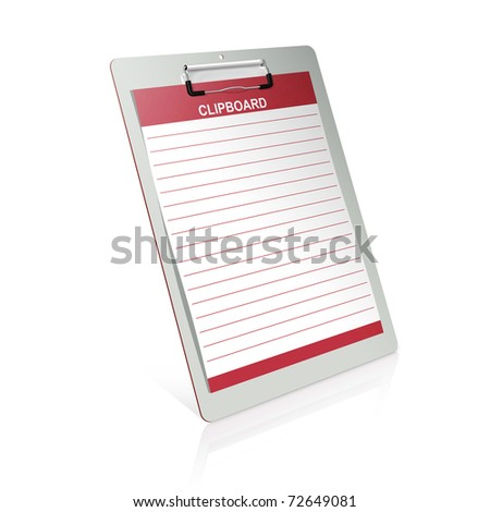 3d clipboard isolated on white background - stock photo