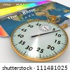3d clock and bank cards on a white background - stock photo