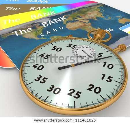 3d clock and bank cards on a white background