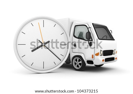 3D Clock and White Truck-Fast shipping - stock photo