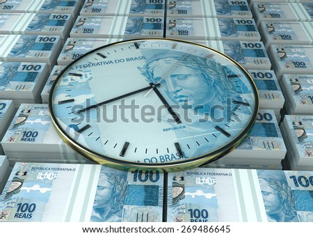 3D clock on piles and stack of Brazil money - stock photo