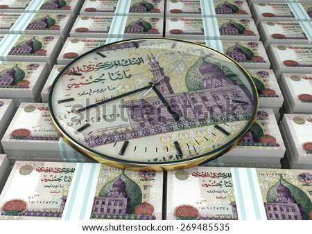 3D clock on piles and stack of Egypt money - stock photo