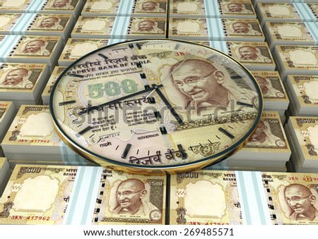 3D clock on piles and stack of India money - stock photo