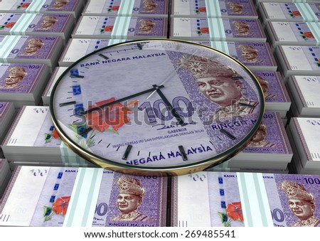 3D clock on piles and stack of Malaysia money - stock photo