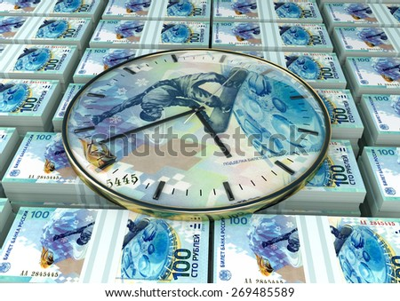 3D clock on piles and stack of Russia money - stock photo