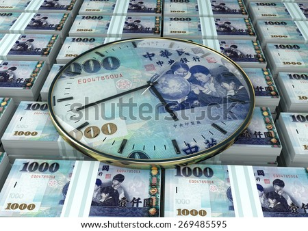 3D clock on piles and stack of Taiwan money - stock photo
