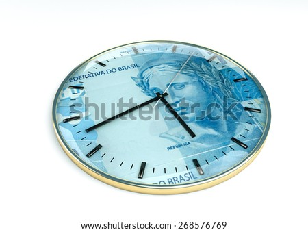 3d clock with brazil currency printer inside it isolated on white background - stock photo