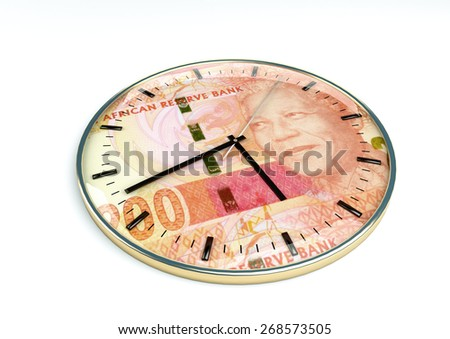 3d clock with south africa currency printer inside it isolated on white background - stock photo