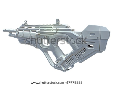 3D close future weapon, made in 3D, isolated on white background - stock photo