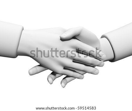 3d Close-up two businessmen shaking hands - stock photo