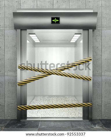 3d closed elevator with open door and caution tape - stock photo