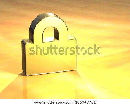 3D Closed Padlock Gold Sign over yellow background