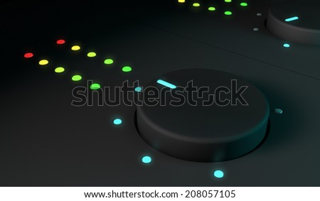 3d closeup of dj mixer equipment  - stock photo