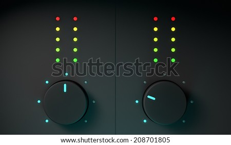 3d closeup of dj mixer equipment, frontal view  - stock photo