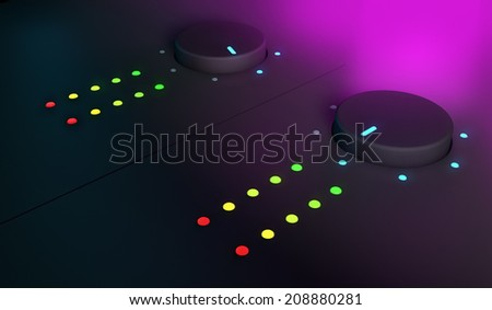 3d closeup of knobs, dj mixer equipment, with pink light on the background   - stock photo