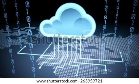3D. Cloud, Cloud Computing, Technology. - stock photo