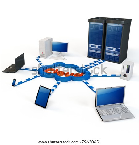 "3d Cloud computing concept. Client computers communicating with resources located in the ""cloud"" - stock photo"